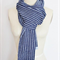 Unisex Navy and Light Blue Striped Scarf Wool and Cotton Blend OOAK