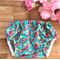 Turquoise floral | size 3-6 months 00 baby girl cotton nappy diaper cover