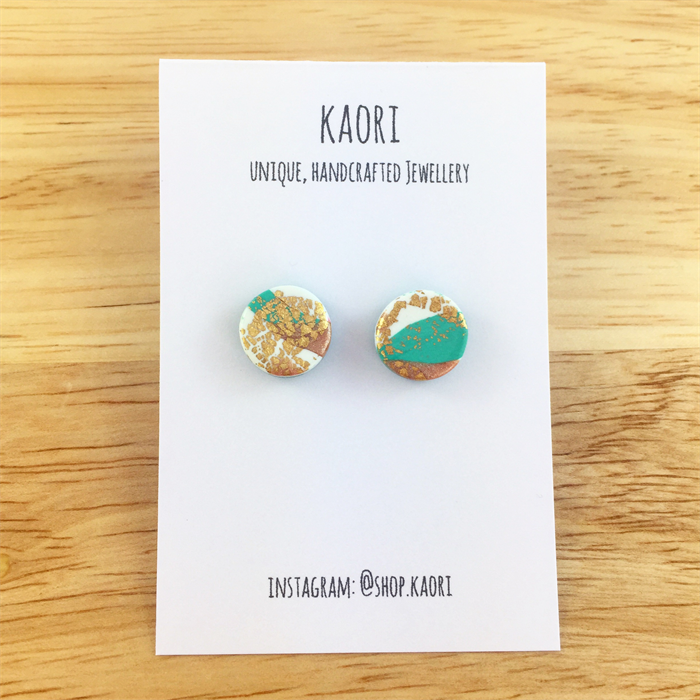 Handcrafted Polymer Clay Stud Earrings In White And Jade Green With Copper Leaf Kaori Madeit Au