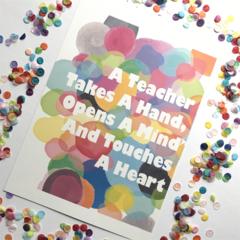 "Teacher- Confetti Illustration Print.  8x10"" / A4"