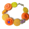Button bracelet -Orange butterflies