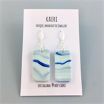 Handcrafted polymer clay earrings with sterling silver hooks- mint blue waves