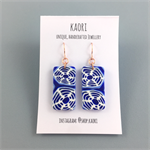 Handcrafted polymer clay earrings with rose gold plated hooks- indigo shibori
