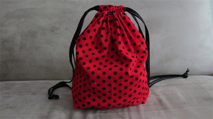 Red And Black Polka Dots Print Drawstring Bagcotton Bagknitting