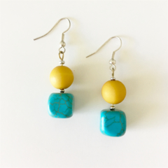 Turquoise and Sunset Yellow Earrings