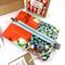 Christmas gift set- handcrafted earrings, kimono fabric purse, keyring and card