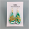 Handcrafted polymer clay earrings with gold plated hooks- jade green gold leaf