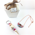 Christmas gift box with handcrafted polymer clay pendant and keyring / bagcharm