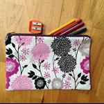 Purple Floral Pencil Case
