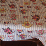 Tea Party Collection -  Tablecloth with English Teapot and cup design
