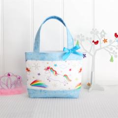 Little Girls Bag - Unicorns and Aqua Blue Sparkle