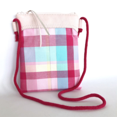 Indi Crossbody Pouch:  Pale Pink Leather with pink and blue check base