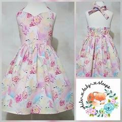 Rainbow Unicorns Sweetheart Halter Dress Size 4