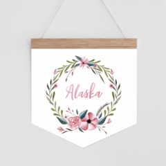 Personalised Banner - Floral Watercolour Wreath. Wall hanging.