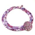 Kimono Cord Necklace Purple Florals