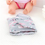Doll Nappy Wallet - Pink and Grey Feathers