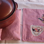 Centre Table Trivet - Dusty Pink with English Tea Parlour Teapot and Cup