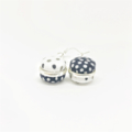 Double Sided Earrings - Fabric Button Kimono Black and White Polka Dots