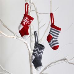 Mini Hand Knitted Christmas Stocking x 3
