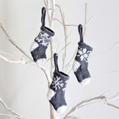 Mini Hand Knitted Christmas Stocking Decorations x 3