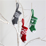 Mini Hand Knitted Christmas Stocking x 3
