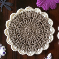 Two Doilies and Eight Coasters Set in Mocha with Cream Trim