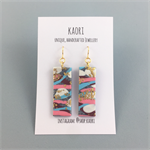 Handcrafted gold leaf polymer clay earrings, gold plated hooks- pink graffiti