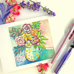 Floral Art Greeting Card Whimsical Note Card
