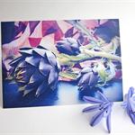 Purple Flower Greeting Card Artichoke - Blank Photo Art Card