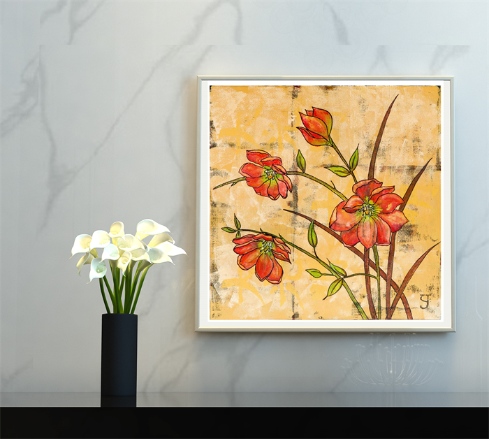 Dorable Red Floral Wall Art Ideas - Wall Art Collections ...