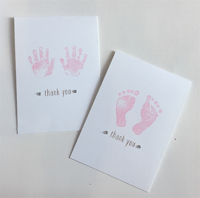 Handmade 8 Baby Shower Baby Girl Thank You Cards Pack Free