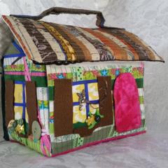 Fabric Doll House Bag - Green