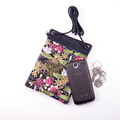 Handy phone pouch. Red water lilies with gold highlights.