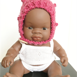 Doll's Bonnet for Miniland 21cm Baby Doll Bobble Bonnet | Merino Wool Bonnet
