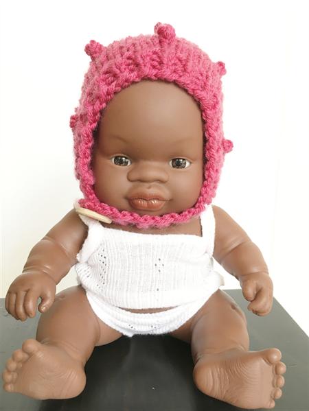Doll's Bonnet for Miniland 21cm Baby Doll Bobble Bonnet | Merino Wool Bonnet