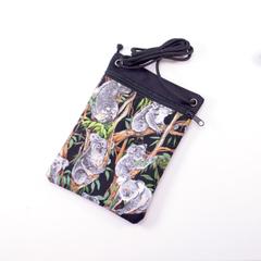 Handy phone pouch. Australian Koala's and gumtrees. Cross body zipper bag.