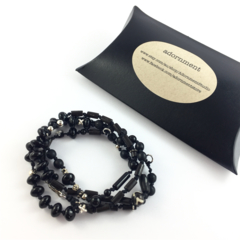 Mens / Unisex Convertible knotted Bracelet or Necklace- Onyx and wood