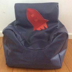 Blue Vinyl Kids Bean Bag- Beanie Chair- Red and Orange Rocket Motif