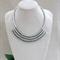 White Crystal Crochet Bib Necklace Handmade OOAK  by Top Shelf Jewellery