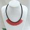 Red Black Beaded Crochet Bib Necklace Handmade OOAK  by Top Shelf Jewellery