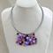 Purple Pink Crochet Bib Necklace Handmade OOAK  by Top Shelf Jewellery