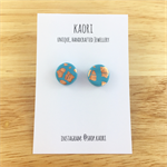 Handcrafted polymer clay stud earrings in turquoise and copper leaf