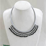 Black Silver Beaded Crochet Bib Necklace Handmade OOAK  by Top Shelf Jewellery