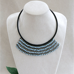 Aqua Crystal Black Crochet Bib Necklace Handmade OOAK  by Top Shelf Jewellery