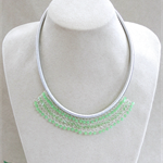 Green Crystal Crochet Bib Necklace Handmade OOAK  by Top Shelf Jewellery