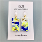 Handcrafted polymer clay earrings with gold plated hooks- blue white yellow