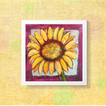 Bright Yellow Sunflower Print - 8 x 8""