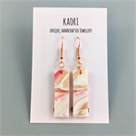 Handcrafted polymer clay earrings with rose gold plated hooks- pink waves