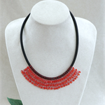 Red Black Beaded Crochet Bib Necklace Handmade OOAK  by Top Shelf Jewellery