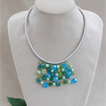Blue Green Crochet Bib Necklace Handmade OOAK  by Top Shelf Jewellery